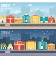 Flat colorful sity buildings set vector image