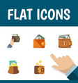 flat icon billfold set of payment wallet purse vector image vector image