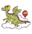 flying dragon with balloon vector image