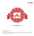 glasses frame icon - red ribbon banner vector image