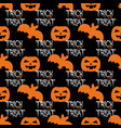 halloween tile pattern with orange pumpkin and bat vector image
