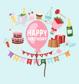 happy birthday greeting card and elements vector image