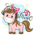 horse with headphones on a blue background vector image vector image