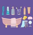 hygiene items body care gel soap sink brush towel vector image