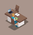 isometric concept of the work of a bank manager vector image