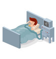 isometric man lies with ventilator medical vector image vector image