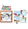jigsaw puzzle game with kids and snowman vector image vector image