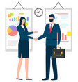 man and woman business partners agreement vector image vector image