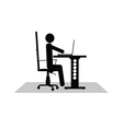 man sitting at the computer vector image vector image