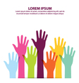 Many Colorful Hand Up Background vector image vector image