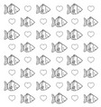 outline tropical fish animal and heart background vector image