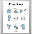 payment icons linecolor pack vector image