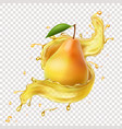 pear in juice splash realistic vector image vector image
