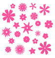 Pink flowers silhouettes set vector image vector image