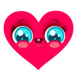 pink heart in kawaii style vector image vector image