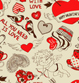 Retro seamless pattern with funny cartoon love