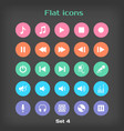 Round Flat Icon Set 4 vector image vector image