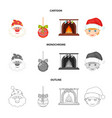 santa claus dwarf fireplace and decoration vector image