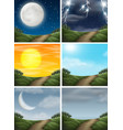 set of different nature path scenes vector image vector image