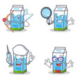 set of milk box character with cupid detective vector image vector image