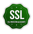 ssl full protection and security label or sticker vector image vector image