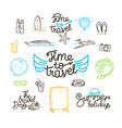 summer travel doodle style elements cute linear vector image vector image