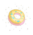 Sweet yellow donut cartoon icon with colorful