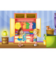 Two girls choosing clothes from closet vector image vector image