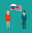 two people with white speech bubbles with russia vector image vector image