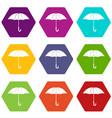 umbrella icon set color hexahedron vector image vector image