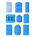water tanks set of various barrels in cartoon vector image