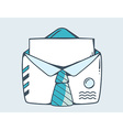 white open envelope with blue tie vector image vector image