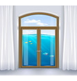 window of underwater landscape vector image