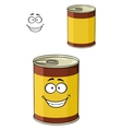 Cartoon can of tinned food with a happy smiling vector image