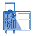 blue shading silhouette of with opened suitcase of vector image