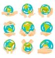 Earth hands set vector image