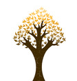 abstract tree with golden leaves on white backgrou vector image