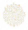art deco alphabet gold vector image