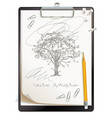 black clipboard with a painted sketch vector image vector image