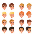 cartoon collection of variety of boy s hair styles vector image vector image