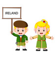 cartoon ireland couple wearing traditional costume vector image