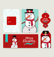 christmas card template holiday snowman doodle set vector image vector image