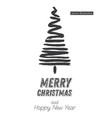 christmas tree sketch isolated on white vector image vector image