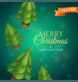 christmas trees on a blurred green background vector image vector image