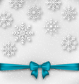 Christmas wrapping with bow ribbon and snowflakes vector image vector image