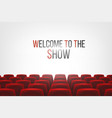 cinema hall with white blank screen and red rows vector image