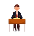 Clever school girl sitting at the desk with open vector image vector image