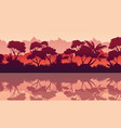 collection of jungle reflection silhouette scenery vector image vector image