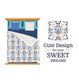 cute design for bed linen vector image vector image