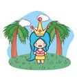 fantasy girl outdoors cartoon vector image